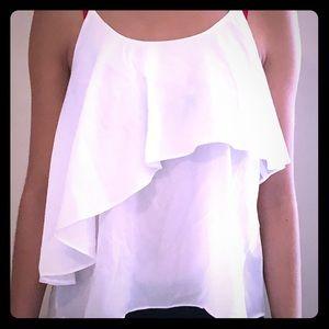 White No Sleeve Flowy Shirt